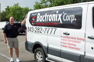 image shows Greg Busang Onwer of Bactronix of the Grand Strand offering mold testing, mold remediation, air duct cleaning, dryer duct cleaning and water restoration services for Myrtle Beach, SC