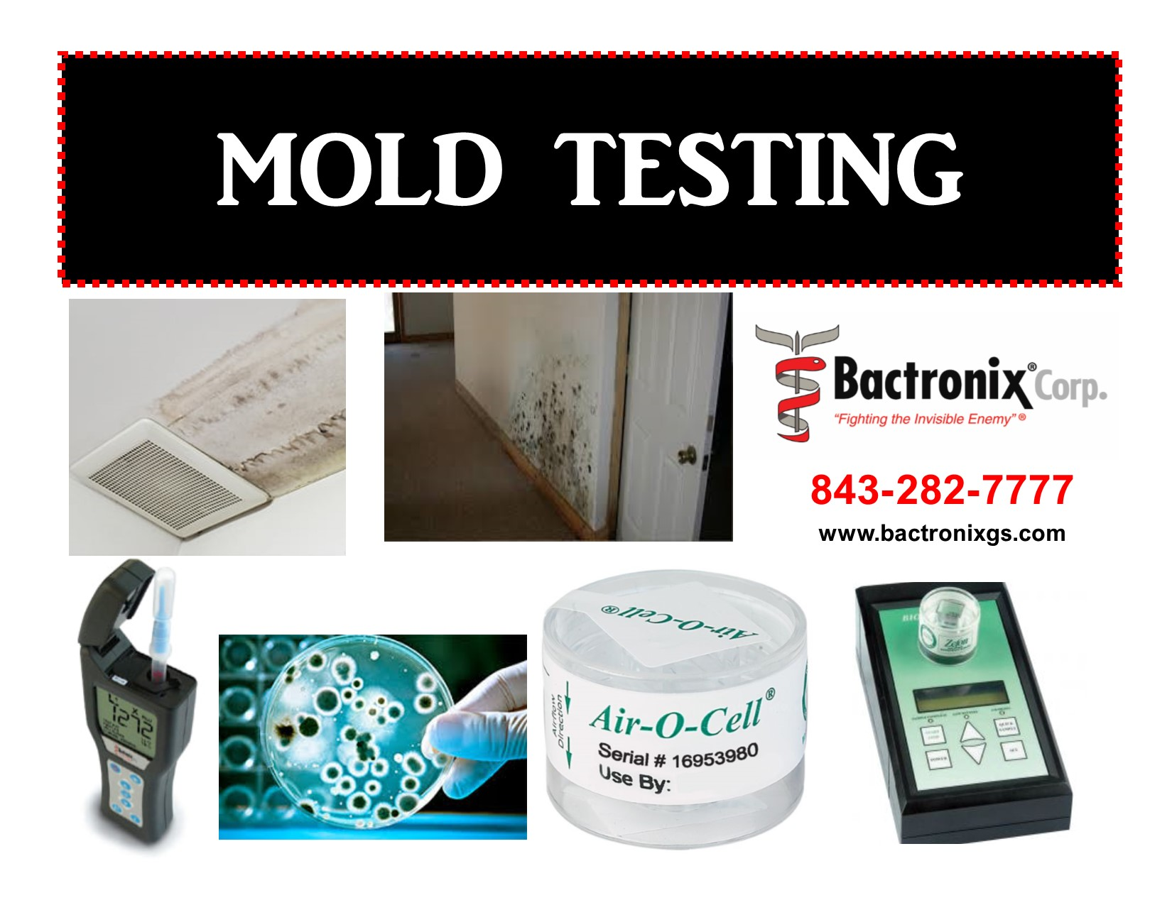image shows mold testing equipment used by Bactronix of the Grand Strand in Myrtle Beach, SC. Mold testing for homes, schools, offices, clinics, and commercial buildings.
